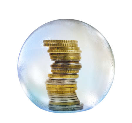money sphere: Coins in soap bubble isolated on white backgound