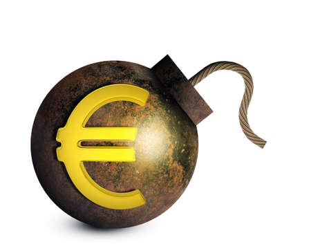 ignited: Bomb with ignited fuse and euro sign isolated on white background. 3D rendering