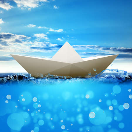 paper boat: White paper boat in blue sea and blue sky. 3D rendering