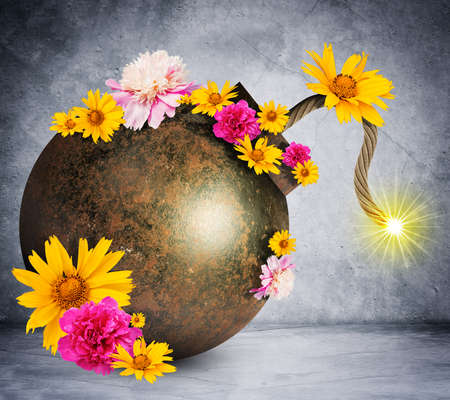 ignited: Money style bomb with ignited fuse and flowers on grey wall background. 3D rendering