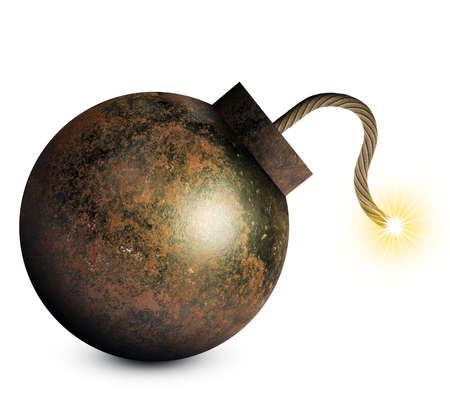 ignited: Money style bomb with ignited fuse isolated on white background. 3D rendering