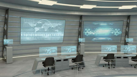 futuristic: Futuristic interior view of office with holographic screen and world map, technology concept