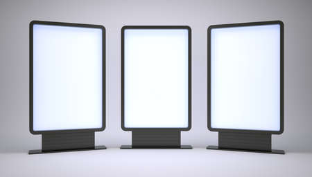 ad board: Banners with blank screen on white background. 3D illustration