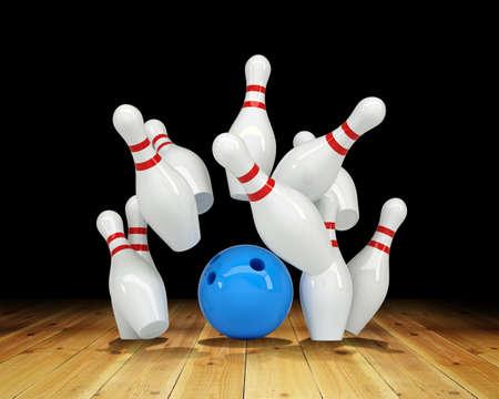 strike: Ball hitting strike on black background, game concept. 3D illustration