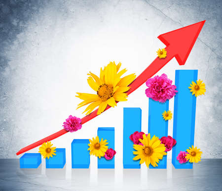 graphical chart: Graphical chart with flowers on grey wall background. 3D illustration