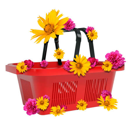 empty basket: Empty shopping basket with flowers isolated on white background. 3D illustration
