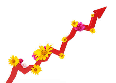 graphical chart: Graphical chart with flowers isolated on white background. 3D illustration