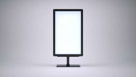 ad board: Banner with blank screen on white background. 3D rendering