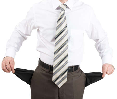 turned out: Businessman turned out his pockets isolated on white background, closeup Stock Photo