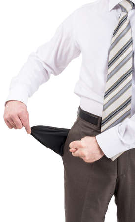 turned out: Businessman turned out his pocket isolated on white background, closeup Stock Photo