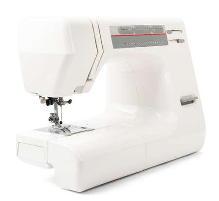 needlecraft product: White sewing-machine isolated on white background, closeup