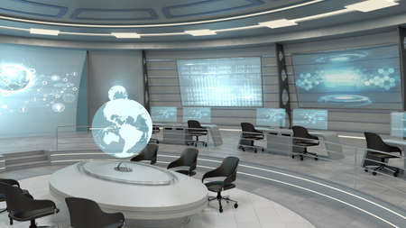 futuristic interior: Futuristic interior view of office with holographic screen and earth globe, technology concept
