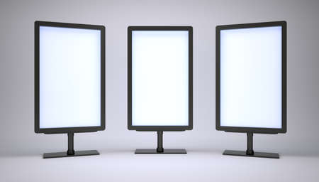 ad board: Banners with blank screen on white background. 3D rendering