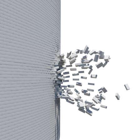 pared rota: Pared de ladrillos rotos aisladas sobre fondo blanco. representación 3D Foto de archivo