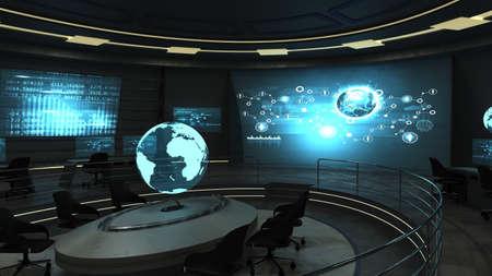 Futurista vista interior de la oficina oscuro con pantallas holográficas. 3d