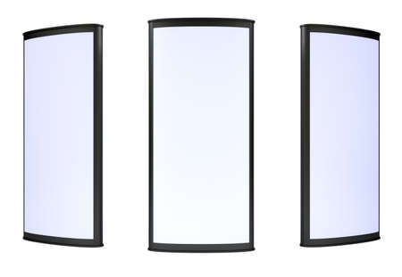 outdoor advertising construction: Three blank lightboxes on white background. 3d render