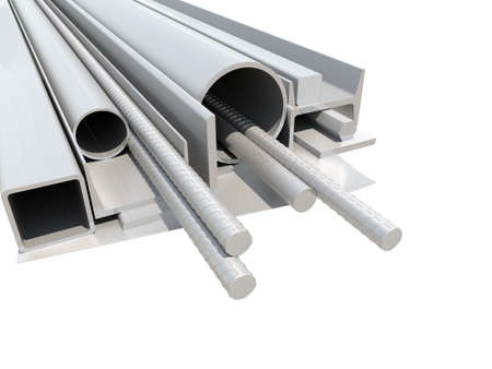 burnish: Rolled metal products. White background. 3D illustration