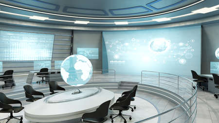 futuristic interior: Futuristic interior view of office with holographic screen, technology concept. 3D rendering