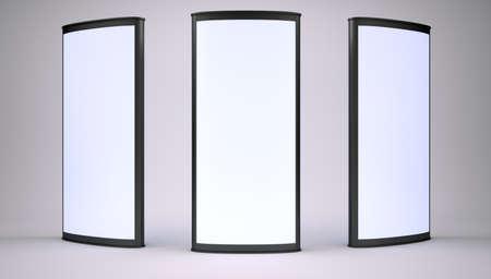 lightbox: Advertising lightboxes in empty gray studio. 3D rendering