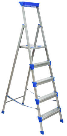 metallic stairs: Metal ladder with blue elements isolated on white background