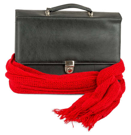 red scarf: Recovering business, Suitcase with red scarf isolated on white