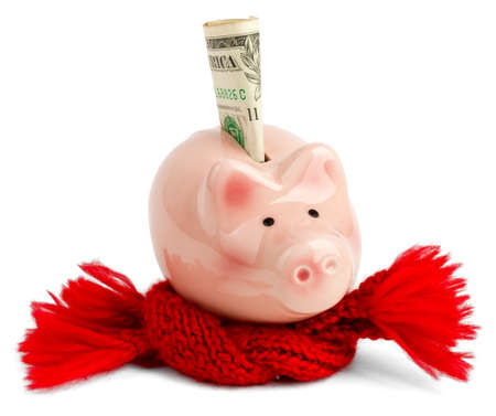 Pink piggy bank with red scarf and dollar. Business concept