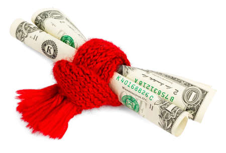 red scarf: Poor state of finances. Rolled dollars wrapped in red scarf