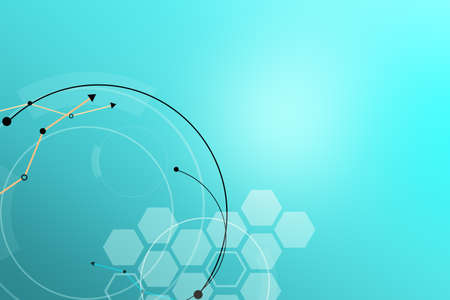 blue circles: Abstract blue background with hexagons and circles