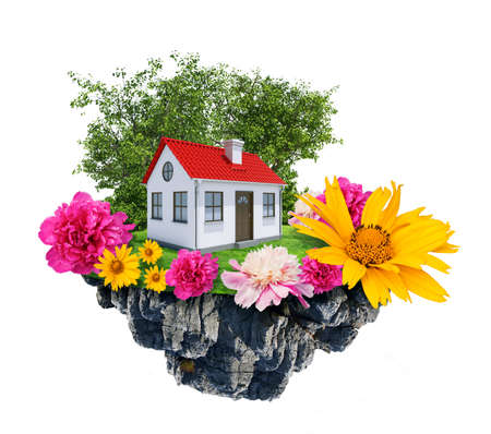 3d bungalow: House with tree and flowers stands on flying island. Real estate concept. 3D rendering
