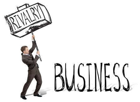rivalry: Rivalry hit business. Businessman with drawn hammer. White background