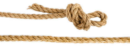 gibbet: Ship ropes with knot isolated on white background, closeup Stock Photo