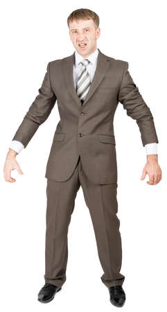 rolled up sleeves: Businessman in suit ready to work isolated on white background
