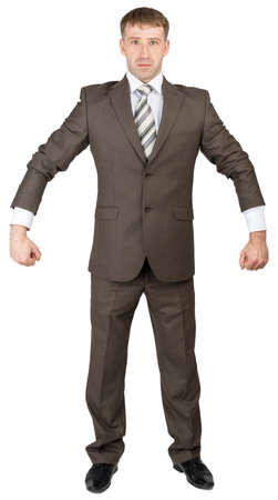 shirtsleeves: Businessman in suit ready to work isolated on white background