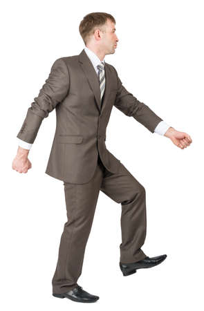 shirtsleeves: Businessman in suit walking ready to work isolated on white background