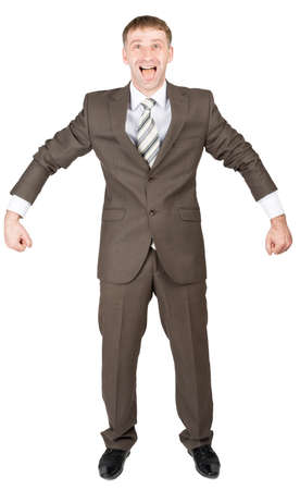 shirtsleeves: Happy businessman in suit ready to work isolated on white background Stock Photo