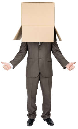 gesticulation: Businessman standing and gesturing with cardboard box on his head