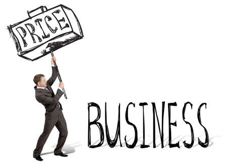 price hit: Price hit business. Businessman with drawn hammer. White background