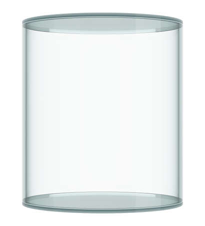 showcase: Empty glass showcase on white background. 3D rendering Stock Photo