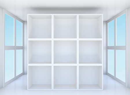 clean room: Empty showcase or bookshelf in clean room. Blue sky outside window. 3D illustration Stock Photo