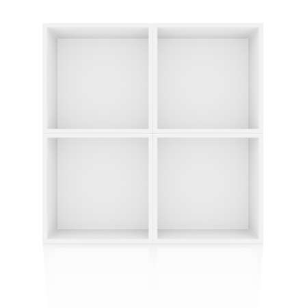 racking: Empty shelves, blank bookcase library. Isolated on white. 3D illustration