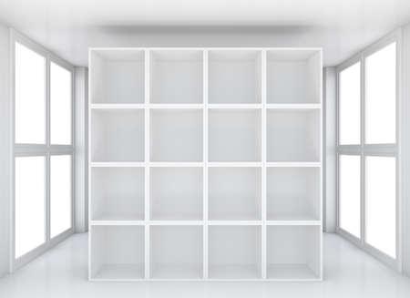 showroom: Blank white exhibition bookshelf in glossy showroom. 3D rendering