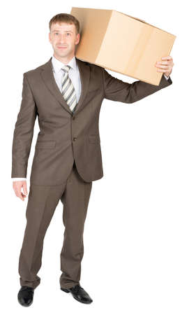 shoulder carrying: Happy friendly confident delivery man carrying box over shoulder. Isolated on white Stock Photo