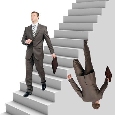 falling out: Businessman falling out of stairs with wallking man on white background Stock Photo