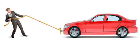 Businessman pulling red car isolated on white background