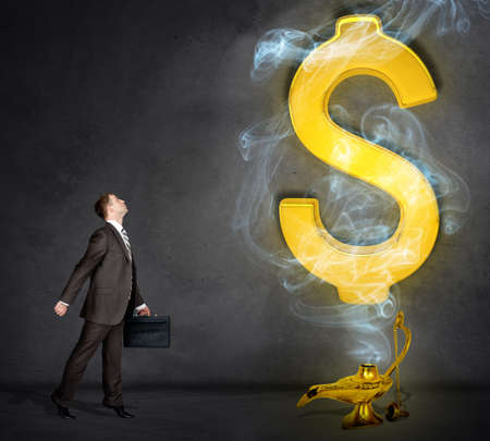 lampara magica: Dollar sign appearing from magic lamp. Businessman with suitcase Foto de archivo