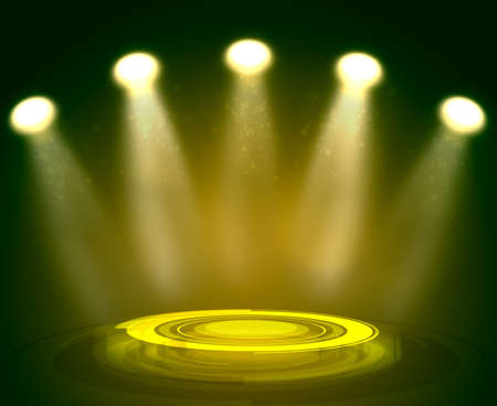 holography: Abstract light yellow background with technology podium and spotlights