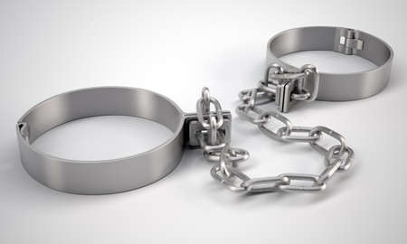 cuff bracelet: Metal shackles, on gray background. 3D rendering
