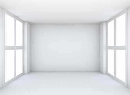frontal view: Abstract white empty interior background with soft illumination, frontal view. 3d illustration