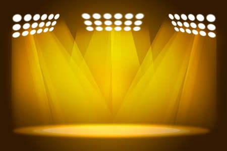 ray trace: Background in show. Yellow interior shined with spotlight Stock Photo