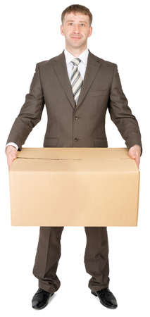 thumbup: Manager in suit holding parcel box, isolated on white background Stock Photo